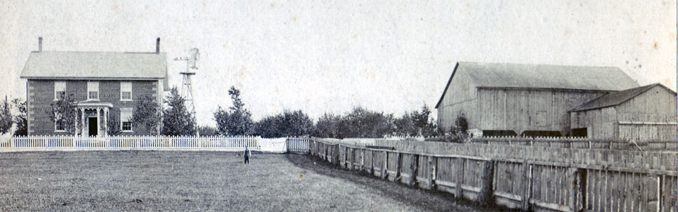 The David B. Schneider farm in 1883. The farm house was torn down to accommodate the building of the Conestoga Parkway.
